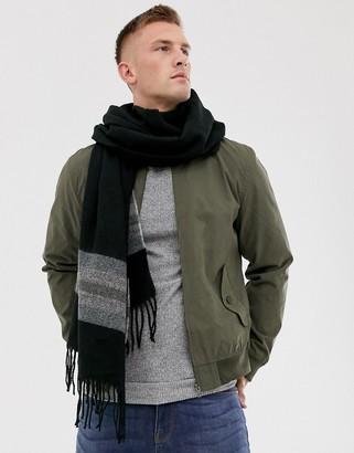 Asos Design DESIGN woven blanket scarf in black with stripe detail