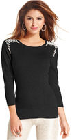 Amy Byer Sweater, Three-Quarter-Sleeve Beaded