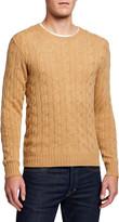 Ralph Lauren Purple Label Men's Cashmere Cable-Knit Crewneck Sweater, Beige