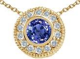 Tommaso design Studio Tommaso Design Round Genuine Tanzanite and Diamond Pendant 14kWhite Gold