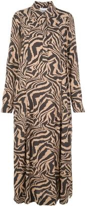 Ganni Tiger Print Button Down Dress