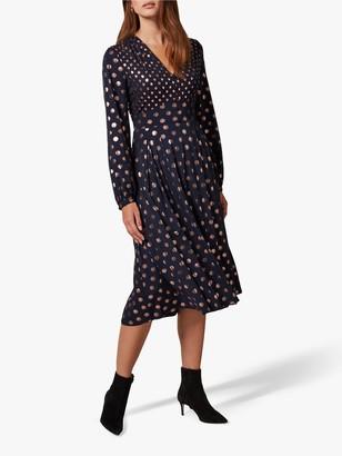 Phase Eight Jacinta Mixed Spot Dress, Navy/Bronze