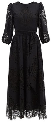 Borgo de Nor Constance Lace-panel Poplin Midi Dress - Black