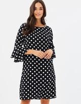 Wallis Spot Flute Sleeve Dress
