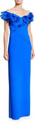 Rickie Freeman For Teri Jon Asymmetric Ruffle Off-Shoulder Cap-Sleeve Scuba Gown