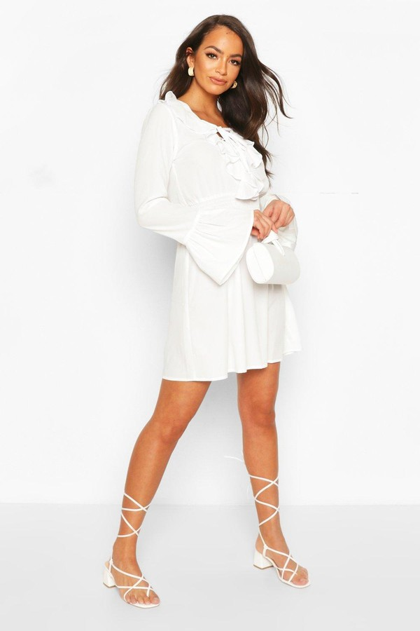 Thumbnail for your product : boohoo Lace Up Detail Skater Dress
