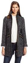 Via Spiga Women's Chic Wool Walking Coat with Gold Hardware