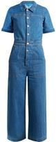 MiH Jeans Uta wide-leg cropped denim jumpsuit