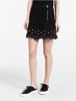 Calvin Klein Black Denim Grommet Skirt