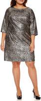 Robbie Bee 3/4 Sleeve Metallic Sheath Dress-Plus