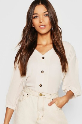 boohoo Horn Button Through Blouse