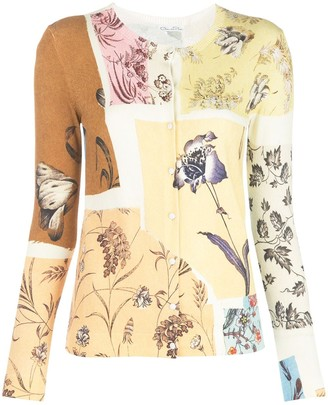 Oscar de la Renta patchwork floral cardigan