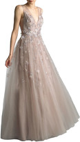 Basix II Beaded V-Neck Sleeveless A-Line Gown with 3D Floral Applique