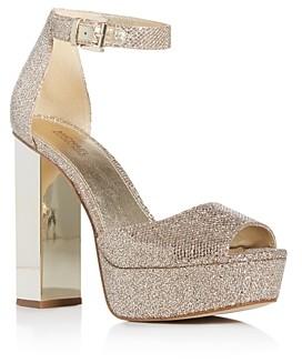 MICHAEL Michael Kors Women's Petra Glitter High Block-Heel Platform Sandals