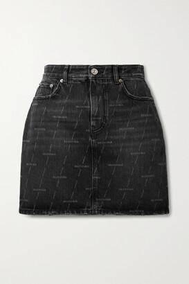 Balenciaga - Printed Denim Mini Skirt - Black