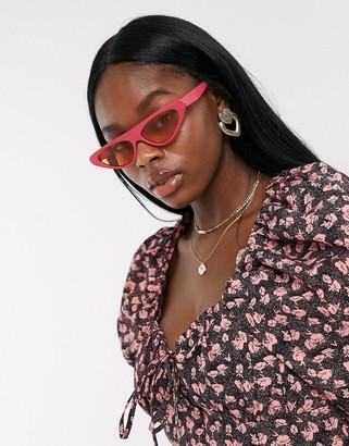 Cat Eye Asos Design ASOS DESIGN flat brow fashion glasses in hot pink