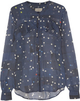 Preen by Thornton Bregazzi Flounce polka-dot silk-georgette blouse