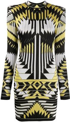 Balmain Geometric Fitted Jacquard Dress