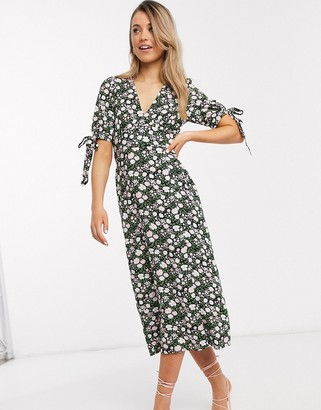 Asos DESIGN v neck midi tea dress with buttons and tie sleeves in floral print