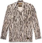 Neighborhood - Camp-Collar Zebra-Print Faux Fur Overshirt