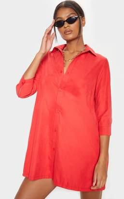 PrettyLittleThing Red 3/4 Sleeve Shirt Dress