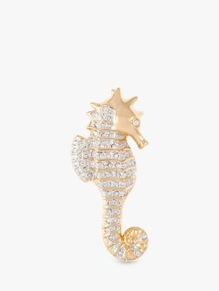 Susan Caplan Vintage Swarovski Gold Plated Swarovski Crystal Sea Horse Brooch, Gold
