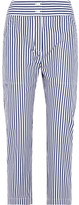 ADAM by Adam Lippes Cropped Striped Cotton Slim-leg Pants - Navy