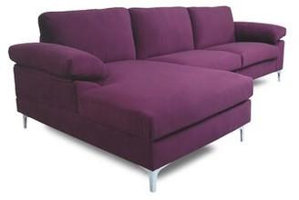 Ivy Bronx Edison Park 103.5'' Velvet Left Hand Facing Sofa and Chaise Fabric: Purple