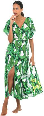 MC2 Saint Barth Banana Leaves Print Long Dress