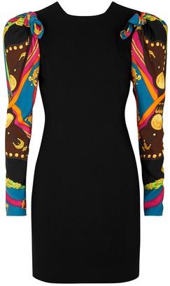 Versace Black puff-sleeve mini dress