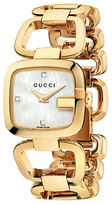Gucci Ladies Small Gold Square Bracelet Watch with Mother of Pearl Dial