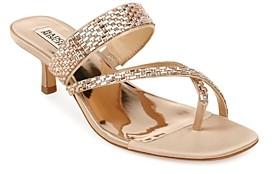 Badgley Mischka Women's Zena Crystal Embellished Mid Heel Sandals