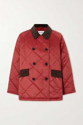 Barbour + Alexachung Delia Corduroy-trimmed Quilted Cotton-shell Jacket - Red