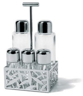 Alessi CACTUS! - Pierced Stainless Steel Condiment Set