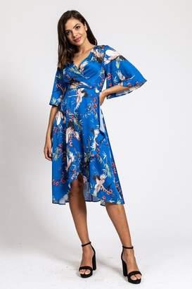 Liquorish Wrap Dress in Blue Bird Print With Kimono Sleeves