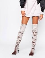 New Look Velvet Over The Knee High Heeled Boot