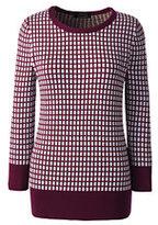 Lands' End Women's Tall Supima 3/4 Sleeve Jacquard Sweater-Burgundy Jacquard