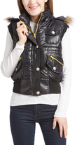 Black Faux Fur Trim Hooded Vest