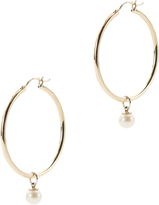 Mateo Pearl Charm Detachable Gold Hoops