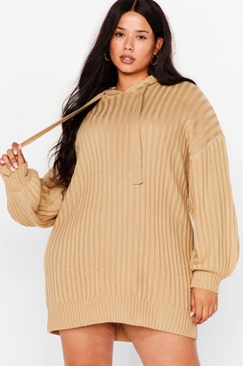 Nasty Gal Womens Get Knit Done Plus Ribbed Hoodie Dress - Oatmeal