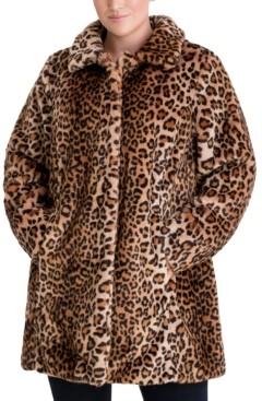 Anne Klein Plus Size Leopard-Print Faux-Fur Coat