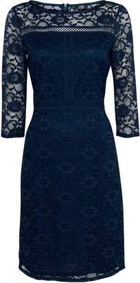 Wallis Navy Lace 3/4 Sleeve Dress