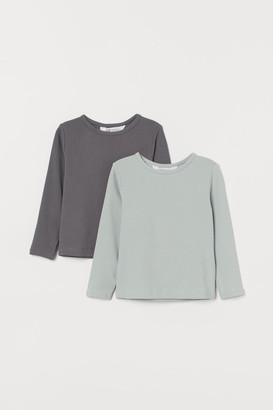 H&M 2-pack Cotton Tops - Turquoise