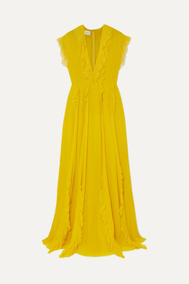 Giambattista Valli Ruffled Lace-trimmed Silk-georgette Gown - Saffron