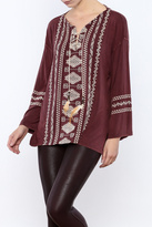 POL Lace Up Embroidered Tunic