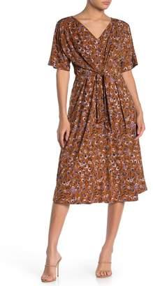 WEST KEI Floral Elbow Sleeve Tie Front Midi Dress