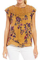 Jolt Floral Lace-Yoke Flutter-Sleeve Top