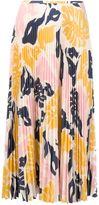 Cédric Charlier leaf print pleated skirt
