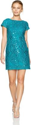 Sandra Darren Women's Petite 1 Pc Short Cap Sleeve All Over Sequin Sheath Dress