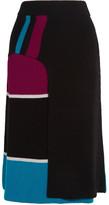 Kenzo Color-block Ribbed Wool Wrap-effect Midi Skirt - Black